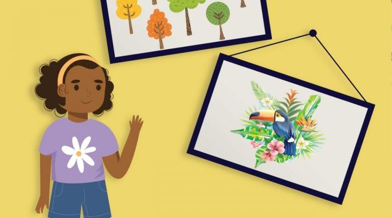 Escolinha de arte disponibiliza atividade artística virtual para as crianças.
